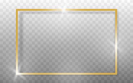 Golden frame realistic on transparent