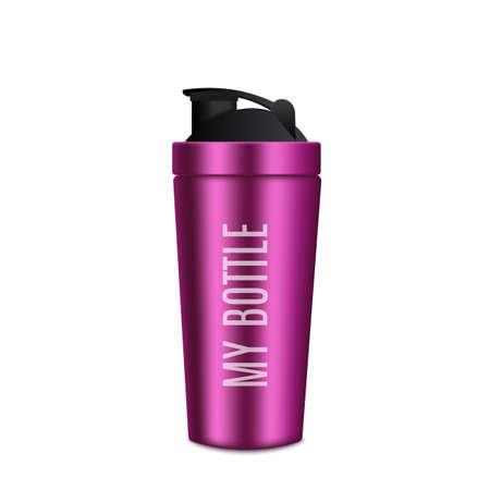 Metal Bottle Realistic Pink Fitness Bottle.