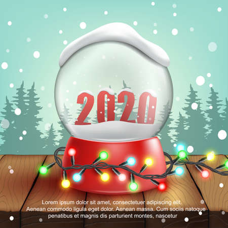 3d realistic Snow Ball with text 2020.