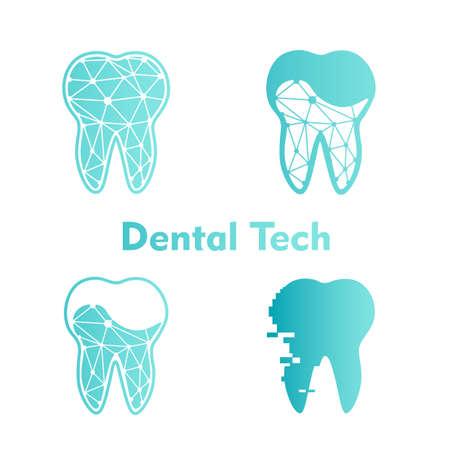 Set Logo Dental Tech on white Çizim