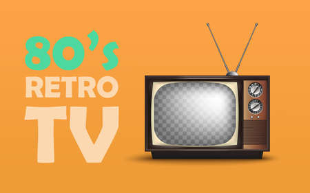Realistic Retro Vintage TV. With Text. Vector illustration