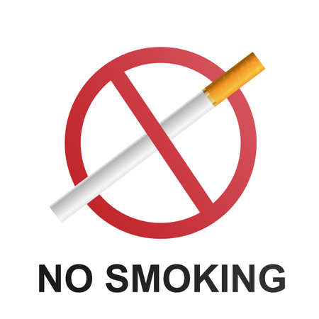 Cigarette with red circle. No smoking. Vector illustration
