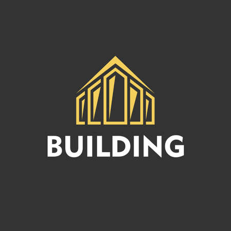 Yellow Logo for building company on black