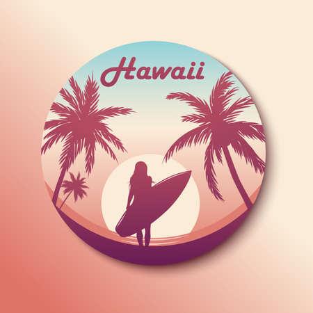 Circle Hawaii Sticker with Surfing girl. Çizim
