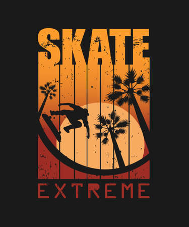 Print for T-shirts and not only. With text SKATE extreme. Grunge texture.One Black Background or Transparant. Vector illustration