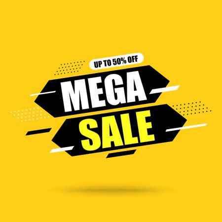 Abstract banner Mega Sale. On Yellow background.Vector illustration Çizim