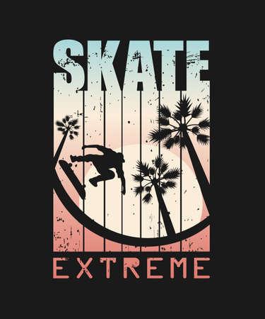 Print For T-shirt. Skate Extreme sport. Vector illustration