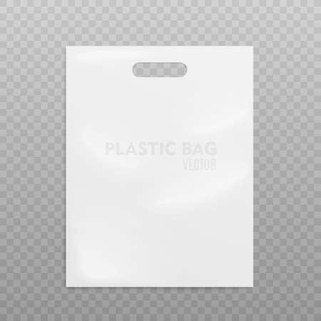 Realistic Plastic Bag. On transparent background, Vector illustration Çizim