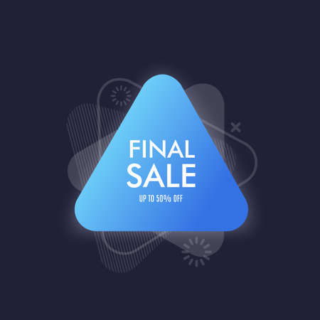 Abstract triangle banner with bright effect isolated on dark blue background. Vector illustration Çizim