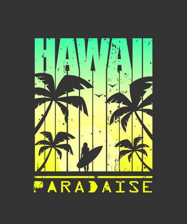 Print For Tshirt. Hawaii surfing. Grunge style.Vector illustration