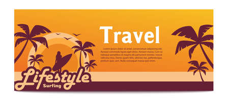 Banner with surfer girl.Travel banner with text.Vector illustration Çizim