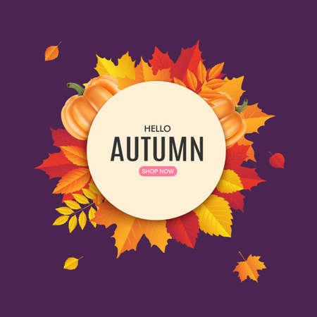 Fall sale banner design. Autumn sale sticker template. Promo badge. Vector illustration