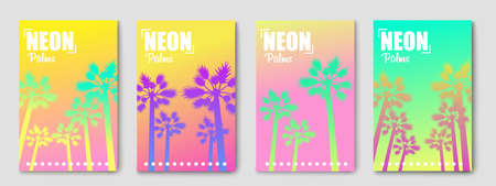 Abstract banner with palm.Neon gradient colorful. Vector illustration Çizim