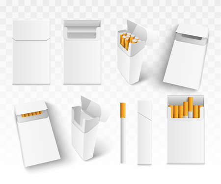 Set 3d realistic cigarettes in pack, on transparent background. Isolated. Vector illustration.
