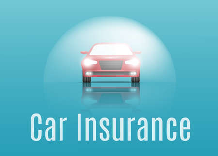 Car insurance concept. Banner with text. Vector illustration Çizim