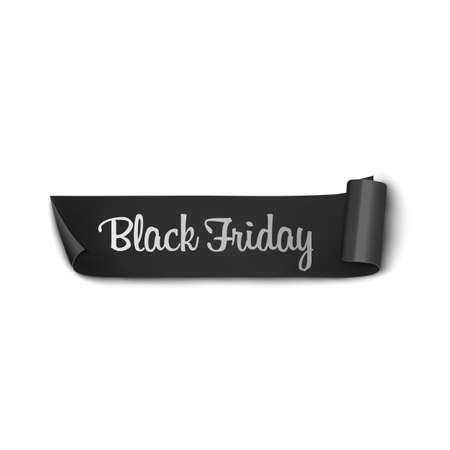 High quality realistic black ribbon with text Black Friday. Vector illustration