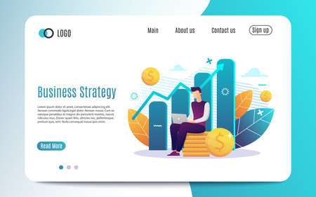 Investment and Analysis Money Cash Profits Metaphor. Freelancer, Employee or Manager Making Investing Plans, Calculating Benefits on Laptop.Vector illustration EPS 10 写真素材 - 132115836