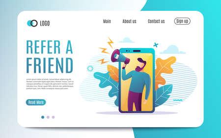 Poleć koncepcję przyjaciela, ludzie krzyczą na megafonie, polecając słowo przyjaciela, szablon strony docelowej, interfejs użytkownika, sieć, aplikację mobilną, plakat, baner, ulotkę. Ilustracja wektorowa