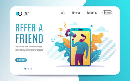Refer a friend concept, people shout on megaphone with refer a friend word, template for landing page, ui, web, mobile app, poster, banner, flyer. Vector illustration
