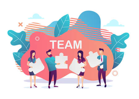 Business concept. Team metaphor. people connecting puzzle elements.Flat design style. Symbol of teamwork, cooperation, partnership. Vector illustration