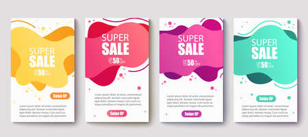 Dynamic modern fluid mobile for sale banners. Sale banner template design,Super Sale set.Vector illustration