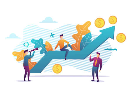 Business strategy, financial analytics. Profit increasing. Sales growth, sales manager, accounting, sales promotion and operations concept.Vector illustration