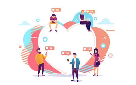 Illustration of young people using mobile gadgets such as laptop and smartphone for social networking and blogging.Flat design of guys and women near big heart. Vector illustration