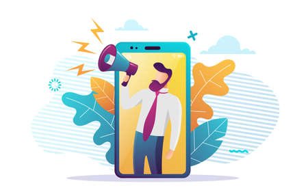 We are hiring. Flat concept vector website template and landing page design of male employer shouting into megaphone about hiring professional employee or latest announcements.Vector illustration