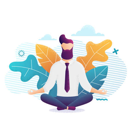 Relaxing and Stress Relief at Workplace Cartoon Vector Concept. Businessman with necktie, Sitting in Lotus Position with Closed Eyes, Practicing Yoga.Zen in Work