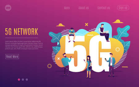 People with gadget use high-speed Internet vector illustration. 5G network wireless technology. Small man and big 5G sign. Flat cartoon style. Vector illustration