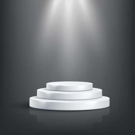 Podio de Tage con iluminación, Escena de podio de escenario con ceremonia de premiación sobre fondo oscuro.Ilustración de vector