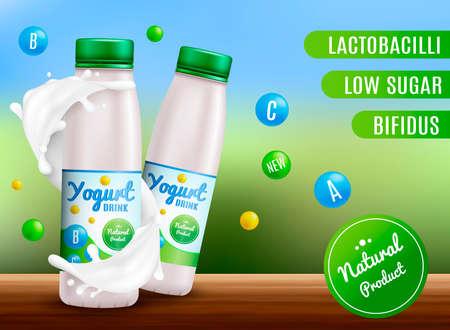 Yogurt mock up realistic Vector. Sour cream and yogurt products. 3d packaging label design.Milk splash background. Vector illustartion Ilustração
