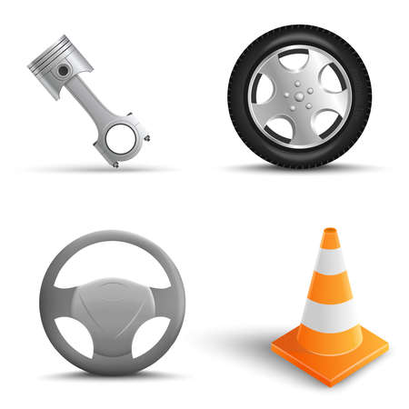 Realistic Set of car repair elements on transparant background. Traffic Cone, Tire, Steering wheel, Engine pistons.Vector Illustration
