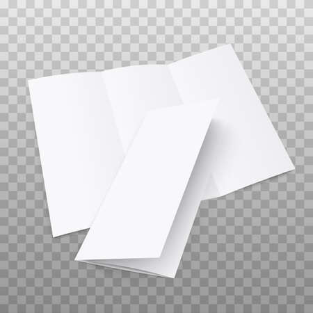 Blank tri fold flyer with cover on transparent background. 3D illustration with soft shadows.Vector illustration