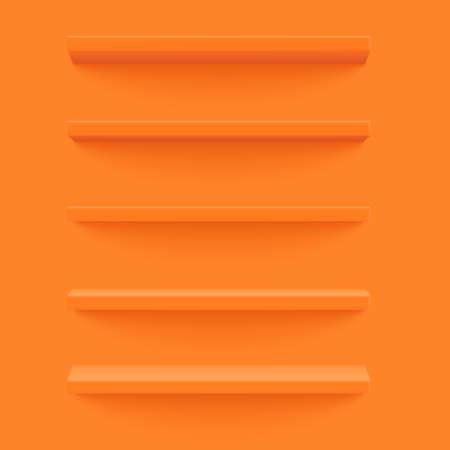 Orange shelf on the yellow wall. Wooden horizontal realistic empty shelf. Isolated object. 3d Vector illustration
