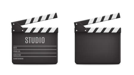 Vector 3d Realistic Opened Movie Film Clap Board Icon Set Closeup Isolated on Transparent Background. Design Template of Clapperboard, Slapstick, Filmmaking Device. Front View. Vector illustration