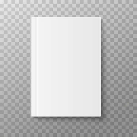 Book, magazine or brochure cover mockup isolated on white background. Vector illustration Ilustração
