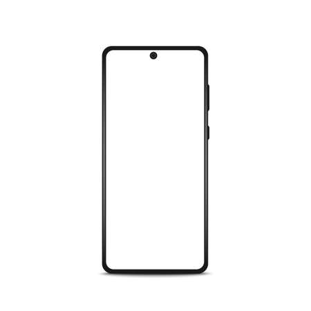 Smartphone frame, black mockup with blank screen. Mockup front view Realistic Vector illustration
