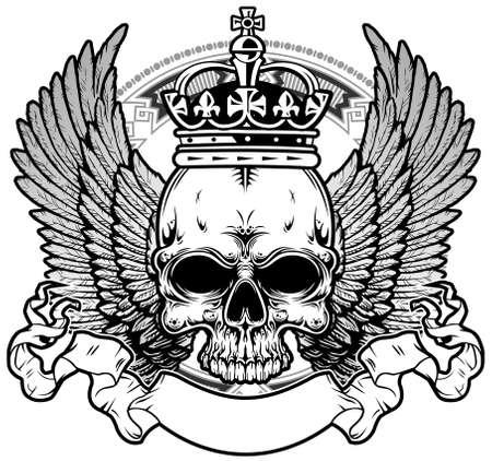 왕관과 날개를 가진 두개골 일러스트