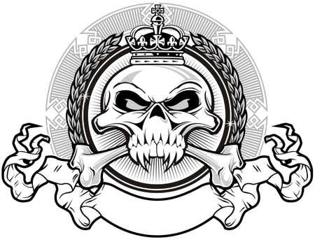 crâne avec la couronne et le ruban Vecteurs