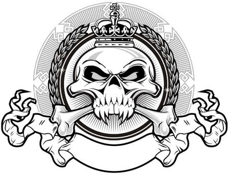 crossbones: skull with crown and ribbon Illustration