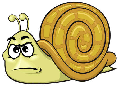 cartoon green snail with funny expression 01