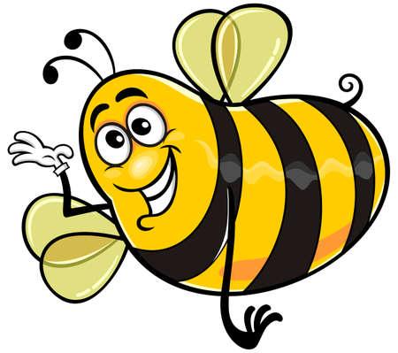 sting: cartoon yellow bee with white glove