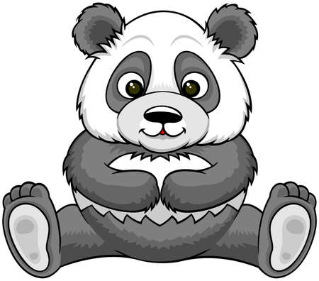 panda sitting with spreading legs Vector