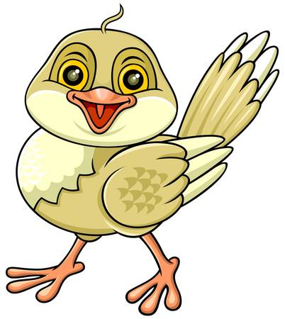 cartoon funny brown bird with pink bill and feet Vector