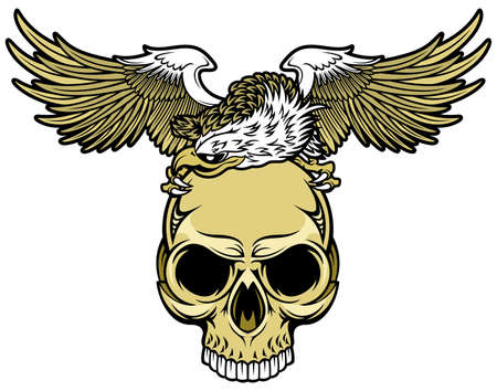 white head eagle spreading wings and brown skull Vector