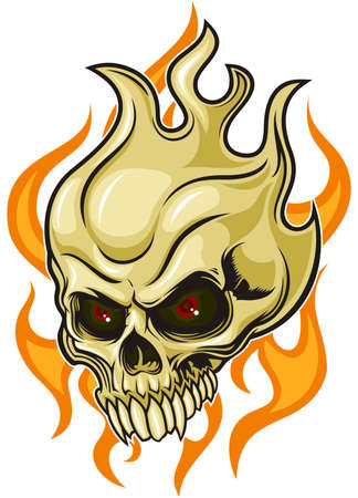 fire skull: brown skull with flaming fire on background