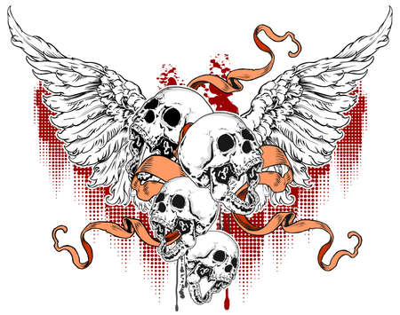 skulls with wings and red ribbon on grunge background Vector