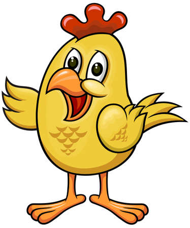 yellow funny cartoon chicken with friendly expression Vector
