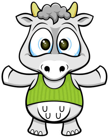 big eyes funny gray cow wearing a green shirt Vector